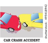 color car crash. two cars hit... | Shutterstock .eps vector #495418942