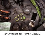 hiking accessories. boots ... | Shutterstock . vector #495425032