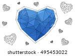 blue heart isolated on white...   Shutterstock .eps vector #495453022