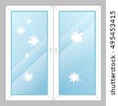 windows with broken glass | Shutterstock .eps vector #495453415