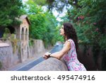 woman resting in the city park... | Shutterstock . vector #495474916