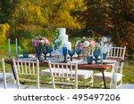decorated for wedding elegant... | Shutterstock . vector #495497206