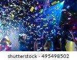 colorful confetti falling to a... | Shutterstock . vector #495498502