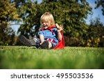 superhero little boy...   Shutterstock . vector #495503536
