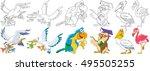 cartoon animals set. collection ... | Shutterstock .eps vector #495505255