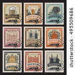 set of postage stamps on the... | Shutterstock .eps vector #495509686