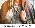 fall fashion outfit detail.... | Shutterstock . vector #495514162