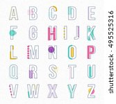 font line with pastel color... | Shutterstock .eps vector #495525316