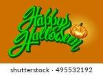 happy halloween text banner ...   Shutterstock .eps vector #495532192