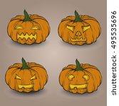 set of halloween hand drawn... | Shutterstock .eps vector #495535696