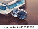 Silver Cuff Links With Blue...