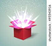open red gift box with abstract ... | Shutterstock .eps vector #495543916