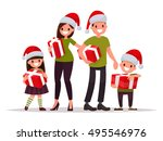 happy family at christmas with... | Shutterstock .eps vector #495546976