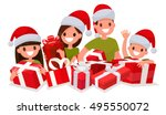 happy family with new year... | Shutterstock .eps vector #495550072