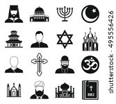 religious symbol icons set in... | Shutterstock .eps vector #495556426