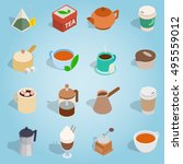 isometric coffee and tea icons...