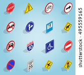 isometric road sign icons set....