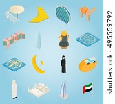 isometric uae icons set....