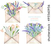 Illustration with watercolor vintage mail envelopes and flowers, hand drawn on a white background