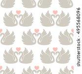 two swans. vector wallpaper | Shutterstock .eps vector #495568096