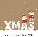 little children christmas wishes | Shutterstock .eps vector #49557100