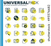 set of 25 universal icons on... | Shutterstock .eps vector #495576682
