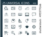 set of 25 universal icons on... | Shutterstock .eps vector #495579166