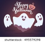 vector halloween illustration... | Shutterstock .eps vector #495579298