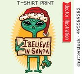 alien believe in santa  ...   Shutterstock .eps vector #495589282