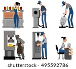 vector illustration of a six... | Shutterstock .eps vector #495592786