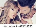 portrait of beautiful couple.... | Shutterstock . vector #495611755