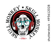 emblem with image of a skull... | Shutterstock .eps vector #495612028