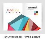 low poly annual report template | Shutterstock .eps vector #495615805