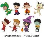happy halloween. set of cute... | Shutterstock .eps vector #495619885