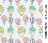 hand drawn seamless air balloon ... | Shutterstock .eps vector #495622306