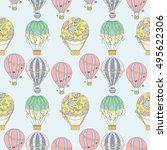 hand drawn seamless air balloon ...   Shutterstock .eps vector #495622306