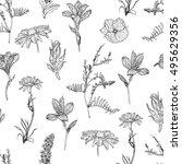 botanical seamless pattern | Shutterstock .eps vector #495629356
