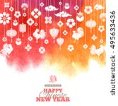2017 chinese new year greeting... | Shutterstock .eps vector #495633436