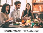 dinner with best friends.... | Shutterstock . vector #495639352