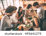feeling so hungry. top view of...   Shutterstock . vector #495641275