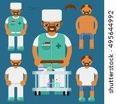 medical personal.flat... | Shutterstock .eps vector #495644992