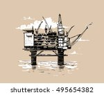 oil platform. hand drawn sketch ... | Shutterstock .eps vector #495654382