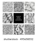 eight black and white abstract... | Shutterstock .eps vector #495658552