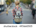 young student girl walking down ... | Shutterstock . vector #495660505