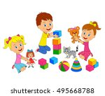 kids boy and girls are playing... | Shutterstock .eps vector #495668788