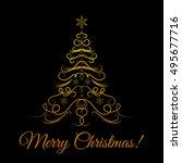 decorative christmas tree ... | Shutterstock .eps vector #495677716