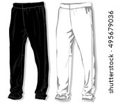 sport trousers   pants isolated. | Shutterstock .eps vector #495679036