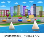 illustration of a boat on... | Shutterstock . vector #495681772