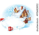 christmas sticker with the... | Shutterstock .eps vector #495682852