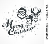merry christmas poster on white.... | Shutterstock .eps vector #495685756